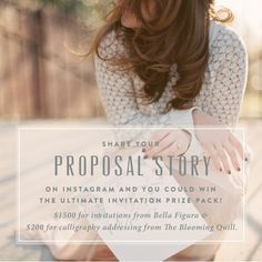 Share your proposal story for a chance to win free wedding stationery from @letterpressed #giveaway