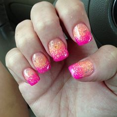 Pink and orange glitter nails. So cute for prom! <3