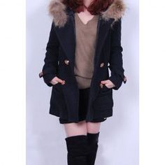 $20.88 Elegant Style Solid Color Fur Embellished Double Breasted Long Sleeve Worsted Hooded Coat For Women