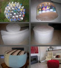 How to Recycle Plastic Bottles - who cares about recycling but I could make it for the boys play room? Upcycling, Sofa, Settee, Diy Sofa, Sofas, Couch, Loveseats, Bench, Upcycle
