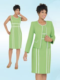 BenMarc Executive Collection, 2 piece dress and jacket, Lime
