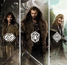 WETA Workshop created individual emblems for each member of the Durin Line, which became recurring motifs through the costume and weapon design. They can be found in a variety of places - from the seal on The Company's contract to the hilts of their weapons.