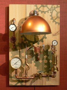 Steampunk, Wall Decor, Wall Lamp, Lighting, Art, Gauges, Copper, Brass, Lamp, Edison,Jules Verne, Gears, Revolution, MasterGreig - …