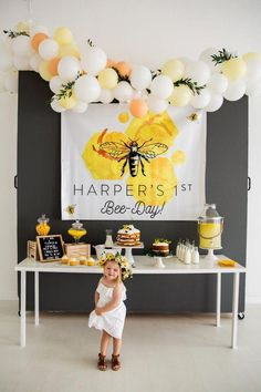 "How ADORABLE is this little Girl's ""Bee-Day"" Theme Birthday Party? A fun and unique theme for your little girls birthday party! #beeday #girlsbirthday #girlsbbirthdayparty #beedaytheme #birthdayparty"