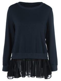 Chiffon Patchwork Back Slit Sweatshirt in Cadetblue | Sammydress.com