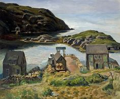 """Monhegan,"" Edmund Franklin Ward, oil on canvas, 25 x private collection. Jamie Wyeth, Monhegan Island, Rockwell Kent, Nature Paintings, Fine Art Gallery, Oil On Canvas, Scenery, Coast, Illustration"