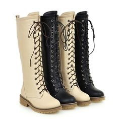 Women'S Cosplay Long Flats Lace Up Boots Strappy Motorcycle Biker Boots Shoes