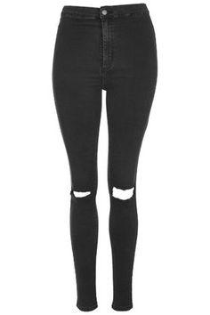 PETITE MOTO Washed Black Joni Jeans