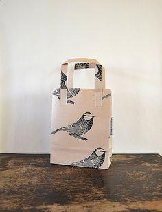 Hand Printed Brown Paper Gift Bag   Blue by HandmadeandHeritage, £2.00