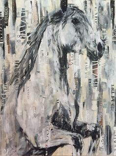 heavy collage and mixed media equestrian artwork with torn paper in neutral colors by CARRIE PENLEY.