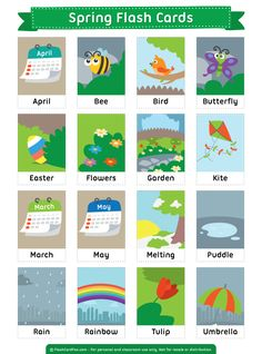 Free printable spring flash cards. Download them in PDF format at http://flashcardfox.com/download/spring-flash-cards/