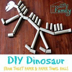 Make a giant dinosaur from toilet paper rolls. Use dinosaur picture on ipad