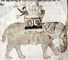 Elephant and castle, with the soldiers in the castle appearing to be inside the elephant, and another soldier lashing about with a flail. [Copyright Bodleian Library, Oxford University]