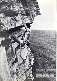 Dick Williams making the first naked ascent of Shockley's Ceiling (5.6) in 1964. His buddies took off with his clothes, so his descent was also a first.  ;-)