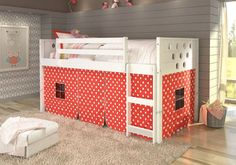 Create your son or daughter's dream room with our loft kids bed with a modern circle design! The under-bed area is tented to create a fun play space and a great area to keep toys. Guard rails at the t
