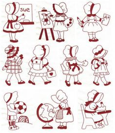 Sunbonnet Sue Goes Back to School Redwork