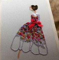 """Primera pieza de la colección """"Alta costura bordada a mano"""". Vestido de Dolce Gabbana según ilustración de Samantha Boardman"""