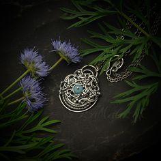 Agapanthe - unikatowy srebrny naszyjnik z amazonitem / Iza Malczyk / Biżuteria / Naszyjniki srebro, amazonit, wire wrapping, wire layering, wire sculpting, iza malczyk, niebieski, boho, unikat