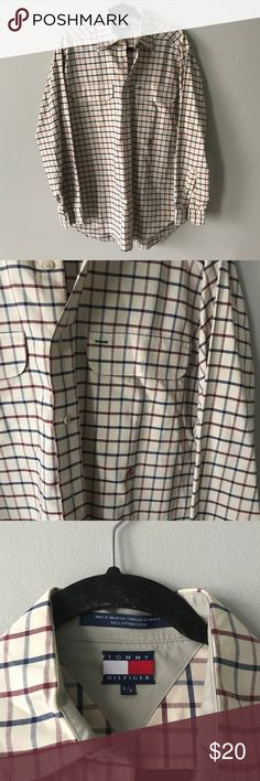 "Tommy Hilfiger Checkered Button Down Shirt Red (burgundy red) blue and tan checkered casual button down shirt in excellent condition. Single front pocket. Long sleeve. 28"" arm length. 100% cotton Tommy Hilfiger Shirts Casual Button Down Shirts"