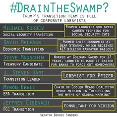 Instead of #DrainingTheSwamp, Trump's transition team is filled with the same old, same old Washington lobbyists and D.C. insiders who have been fighting for a government of, by, and for the 1 percent.