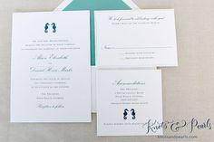 "Seahorse Wedding Invitation, Beach Wedding Invitation, Coastal Wedding Invitation, Nautical Wedding Invite, ""Seahorse"" - DEPOSIT LISTING"