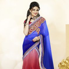 Shaded Red Net and Net Jacquard Lehenga Choli with Dupatta