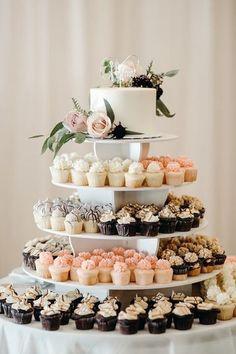 Wedding Cake Display, Cupcake Display, Wedding Dessert Tables, Wedding Cake Table Decorations, Wedding Cakes With Cupcakes, Cupcake Cakes, Cupcake Stands For Weddings, Rustic Wedding Cupcakes, Wedding Cake Simple