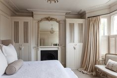 Modern Country Style: Swedish/French Style Victorian House Tour Click through for details. Love the built-in closets - would work anywhere Small Master Bedroom, Home Bedroom, Bedroom Decor, Upstairs Bedroom, Bedroom Curtains, Bedroom Ideas, Bedroom Fireplace, Fireplace Design, Modern Country Style