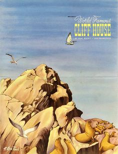 Menu, Cliff House, San Francisco (cover), no date. San Francisco Girls Trip, Cliff House San Francisco, Vintage Prints, Vintage Posters, Us National Parks, Historical Society, Cover, Painting, Seal