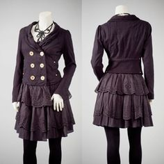 Womens repurposed black cotton military coat dress by Re:deux Clothing
