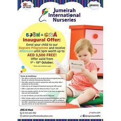 Enrol for Daycare with JINS Al Wasl Russian-English branch before 15th Oct 2015 & get Aftercare worth AED 3500 FREE!