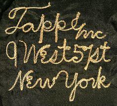 """[label] """"Tappe Inc / 9 West 57st / New York"""". 1919-23.  Awesome hand made label!"""