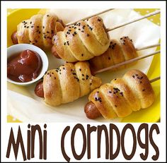 Mini Corndogs make fun party food for kids and adults-They're pretty good and on a stick. Get the recipe here