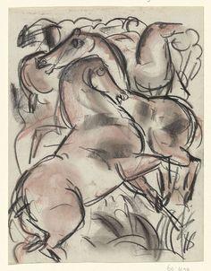 """amare-habeo: """"  Leo Gestel (Dutch 1881 - 1941) Study of horses (Studieblad met paarden), N/D Pencil on paper """""""