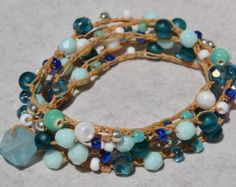 SeaFoam 5X Beaded Crochet Bracelet w Sea Glass, Beach Boho - by SeaSide Strands