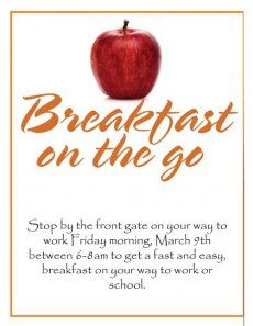 Breakfast On The Go!  Community event idea for property managers Might be an event we can host at the community building