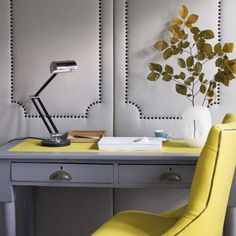 Gray and yellow office