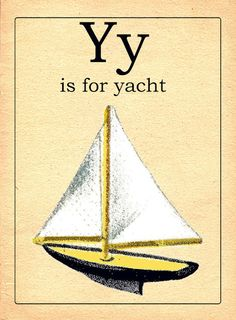Vintage Y alphabet card