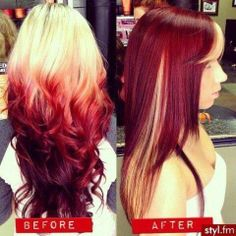 Ombre look. Blonde, red little bit of purple. I like it. Before than after