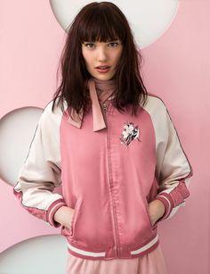 Pink Floral Embroidered Satin Bomber Jacket