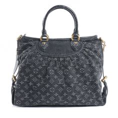 this is at the TOP of my wishlist... This is an authentic LOUIS VUITTON Denim Neo Cabby GM in Black.   This stylish tote is crafted of loose black denim monogram that is tucked and tailored towards the top.