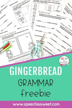 This Gingerbread Grammar activity freebie is a fun and no prep packet for Christmas themed speech-language therapy! These sheets address pronouns, irregular plurals, subject-verb agreement, regular plurals, and more! These are also great for grammar lessons in December or can be sent home for additional practice! | Speech is Sweet