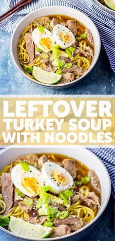 This turkey noodle soup is the perfect way to use leftover turkey after Thanksgiving or Christmas. It's a healthy and easy homemade soup recipe. Best Egg Recipes, Spicy Recipes, Easy Healthy Recipes, Soup Recipes, Noodle Recipes, Healthy Soups, Delicious Recipes, Sweet Recipes, Healthy Food