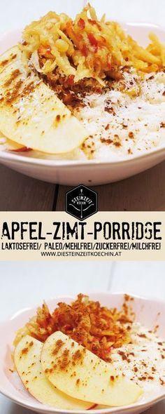 Apfel-Zimt-Porridge-ohne-Getreide-ohne-Milchprodukte, ein schnelles und gesundes Frühstück, ohne Nüsse mit reichlich Ballaststoffen, wenige Zutaten und extrem kalorienarm, ein einfaches und zuckerfreies Rezept um in der Früh schnell satt zu werden.