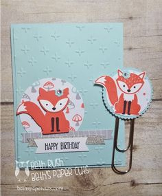 Foxy Friends card and bookmark