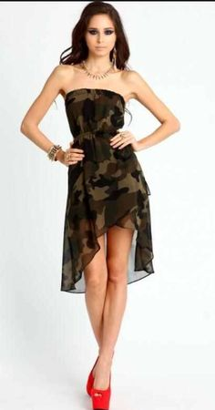 I am here with yet another exciting post of camo summer dresses! Today I have a fabulous collection of camo summer dresses Want a designer dress Military Inspired Fashion, Camo Fashion, Military Fashion, Fashion Outfits, Fashion Wear, Fashion Styles, Camouflage Prom Dress, Camo Dress, Casual Day Dresses