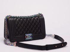 Tas Branded Semi Premium Chanel Boy Iridescent Medium Hitam AP8937 00210e6f26