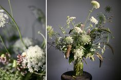 large rustic flower arrangement of queen anne's lace and natural grasses | floral design: Amy Merrick