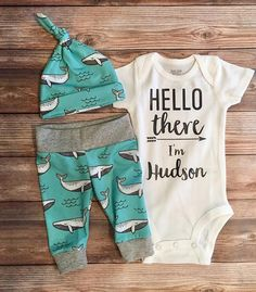 Mint Whale Custom Newborn Coming Home Outfit, Hello There Name Onesie, Hello Baby, Whale Nursery, Whale Theme, Baby Boy Outfit