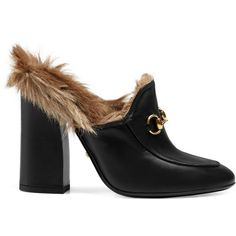 Gucci Princetown Leather Mule (1 030 AUD) ❤ liked on Polyvore featuring shoes, heels, slides & mules, women, black mules, high heel mules, black leather mules, gucci and mule shoes